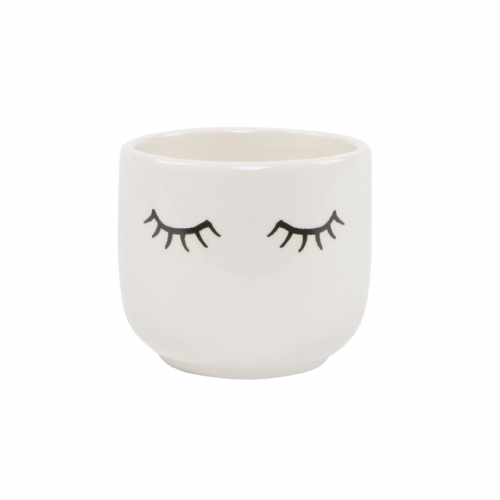 Mini Ceramic White Planter With Eyelash Design